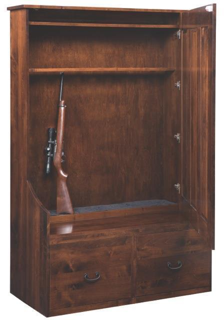 Solid Wood Entryway Bench With Hidden Gun Cabinet From