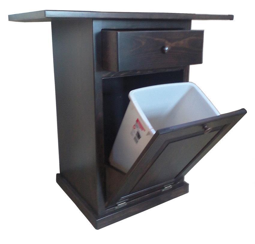 Pine Kitchen Island With Tilt-Out Trash Bin From