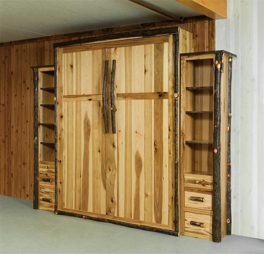 Murphy Bed.Rustic Hickory Wood Queen Murphy Bed
