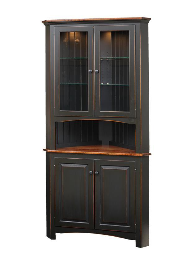 Shaker Style Pine Corner Hutch By Dutchcrafters Amish