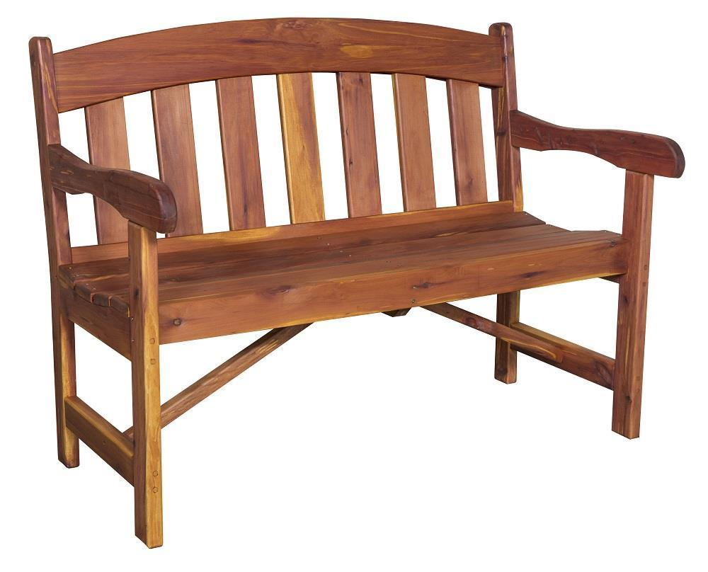 Red Oak Kitchen Table, Cedar Wood Arched Back Garden Bench From Dutchcrafters Amish Furniture
