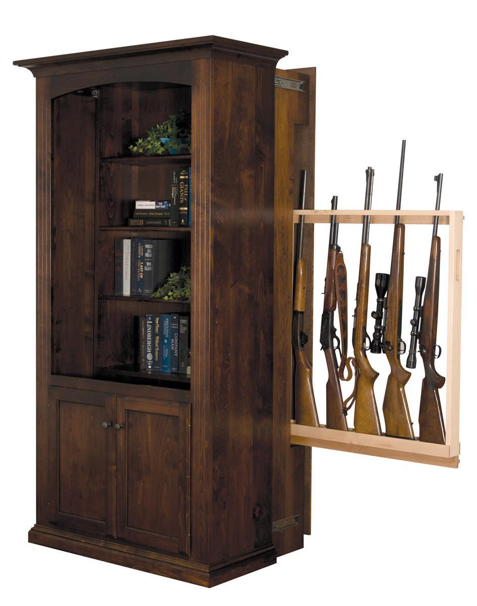 American Made Bookcase With Hidden Gun Storage From Dutchcrafters