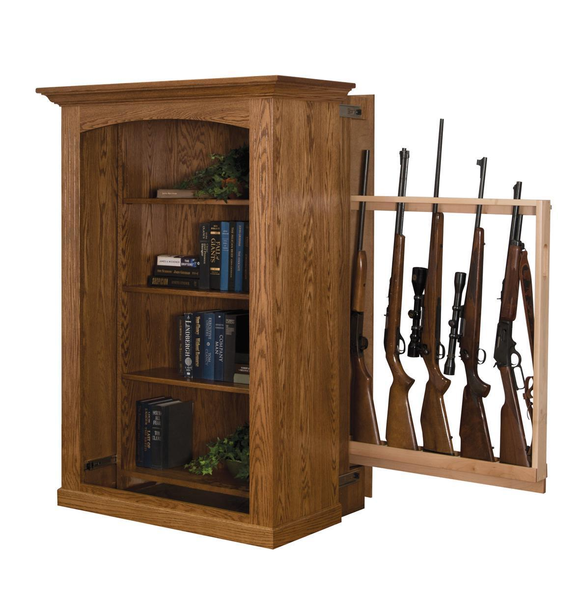 Small Bookcase With Hidden Gun Cabinet From DutchCrafters