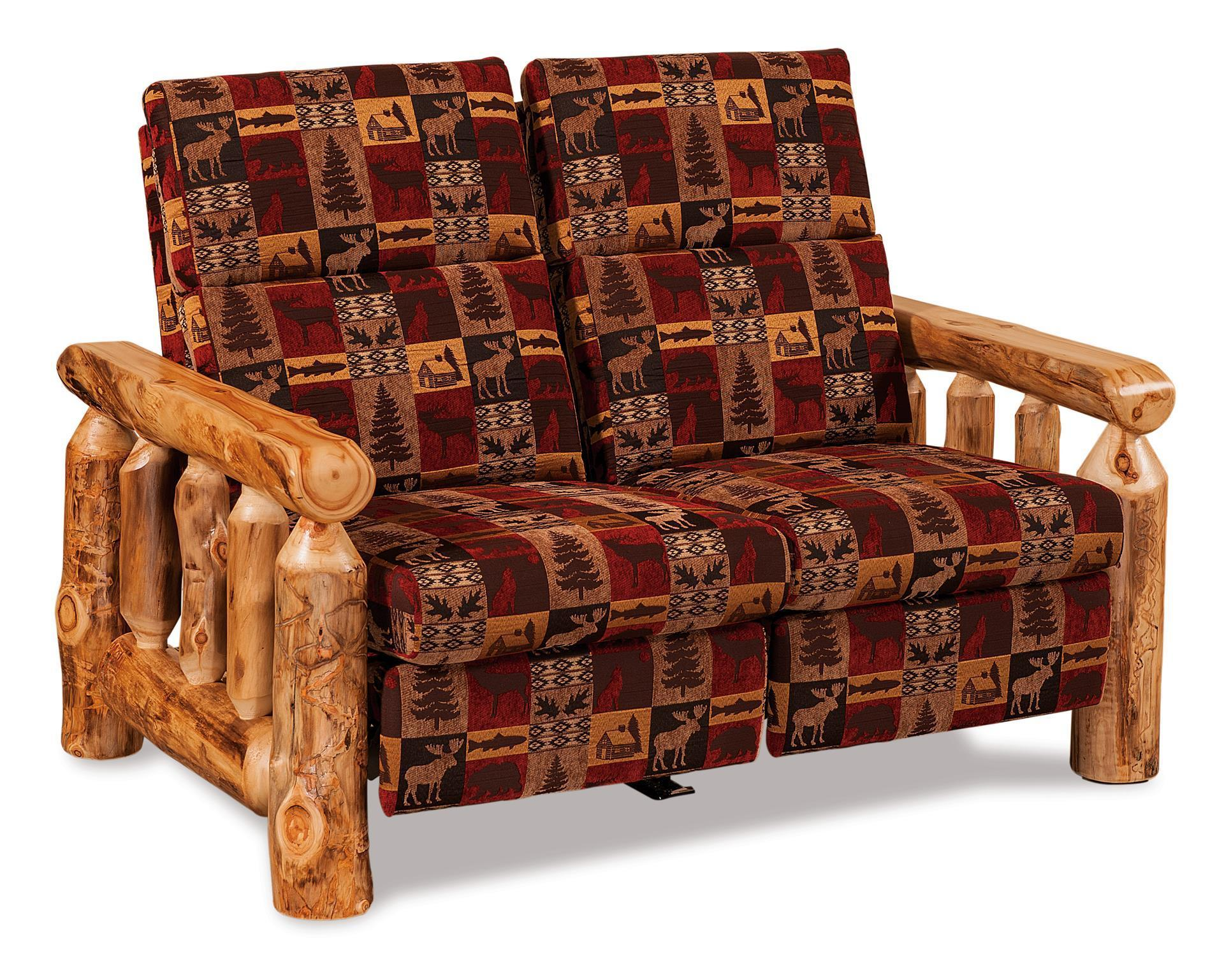 Picture of: Rustic Log Reclining Love Seat From Dutchcrafters Amish Furniture