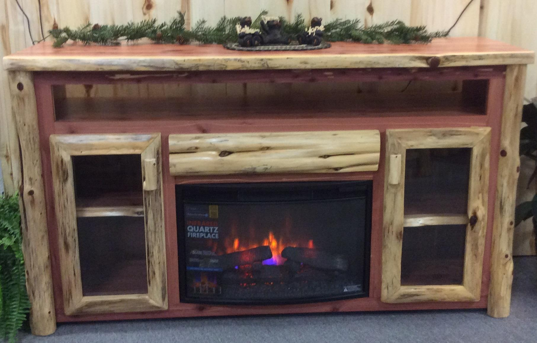 Terrific Rustic Log Tv Cabinet With Electric Fireplace Download Free Architecture Designs Estepponolmadebymaigaardcom