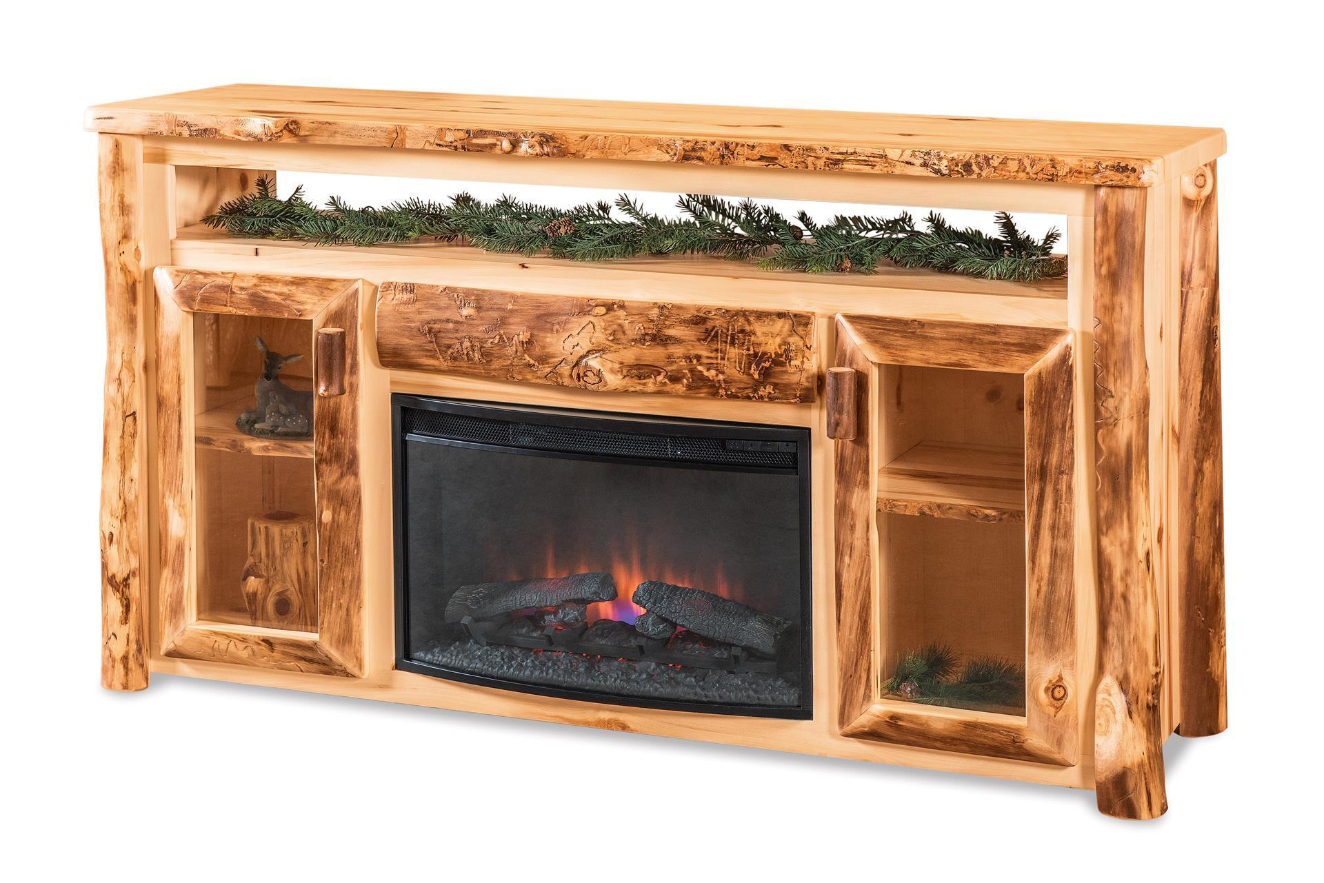 Rustic Log Tv Cabinet With Electric Fireplace From Dutchcrafters