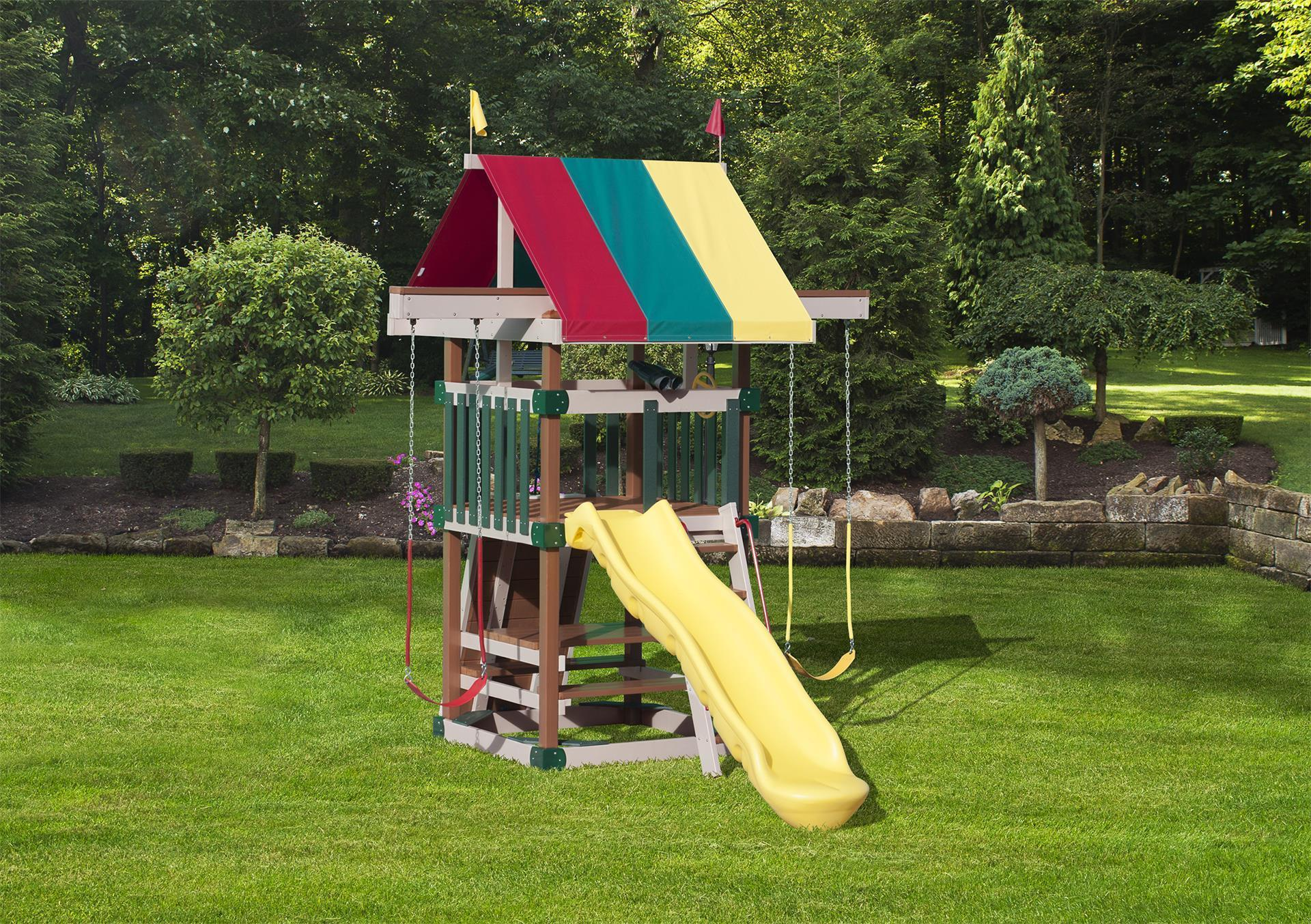 Play Mor Family Space Saver Poly Lumber Swing Set From