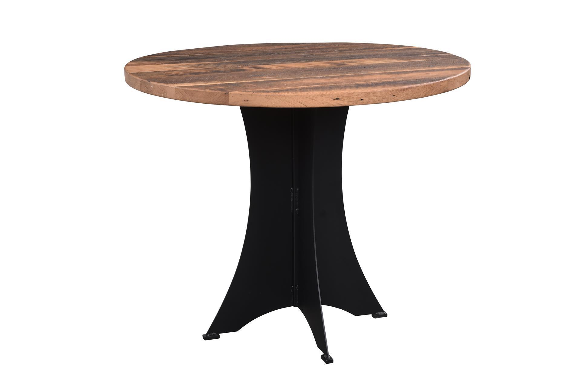 round reclaimed wood brooklyn bar table. Black Bedroom Furniture Sets. Home Design Ideas