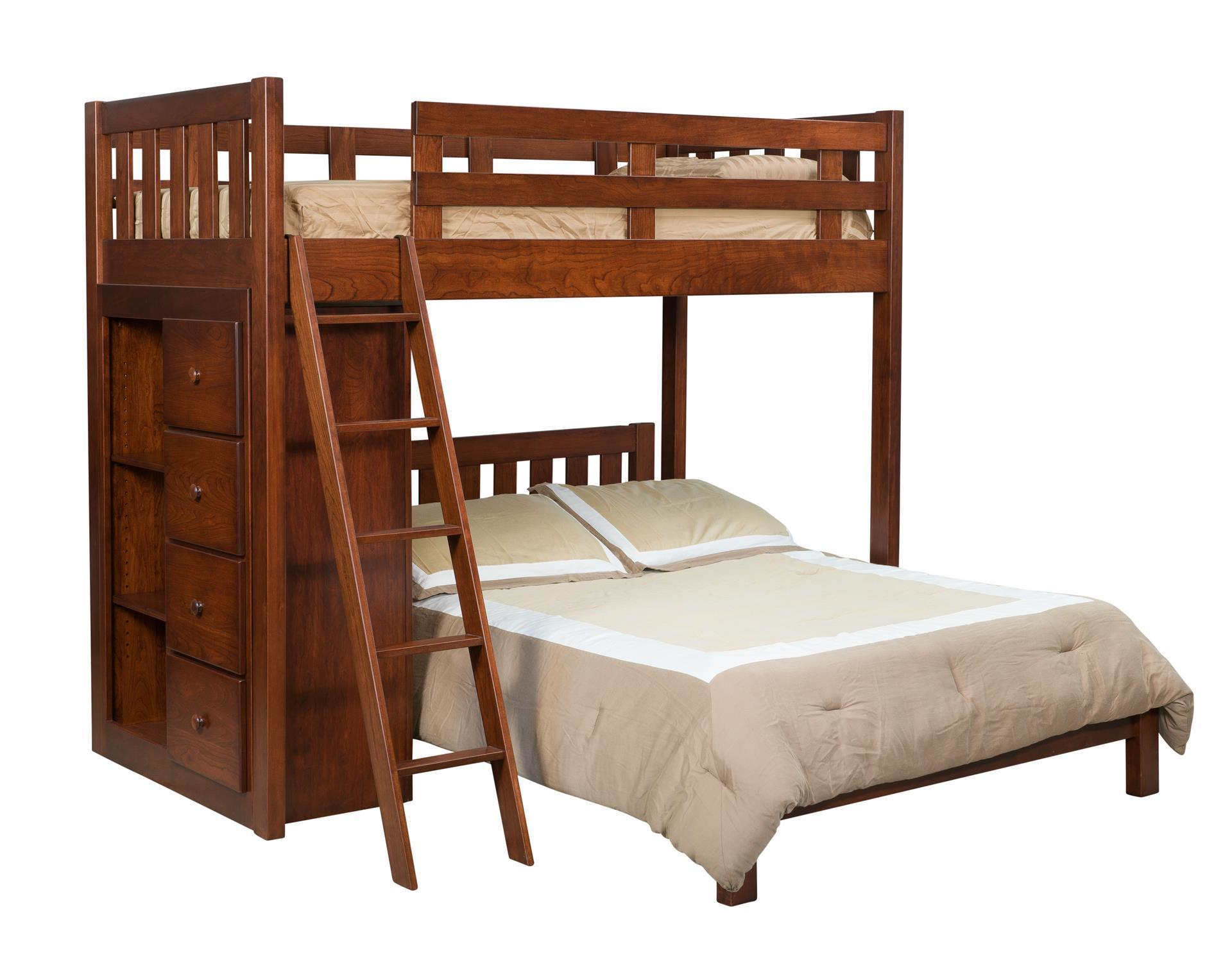 Kids Bunk Bed With Bookcase From Dutchcrafters Amish Furniture