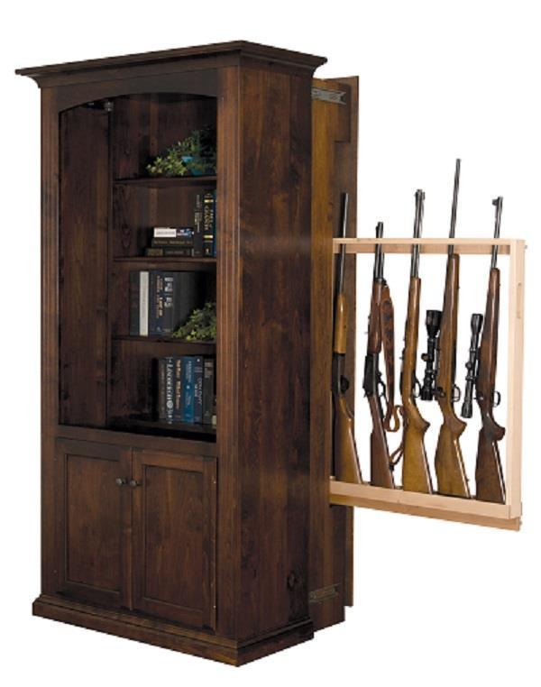 Large Bookcase with Hidden Gun Rack from DutchCrafters ...