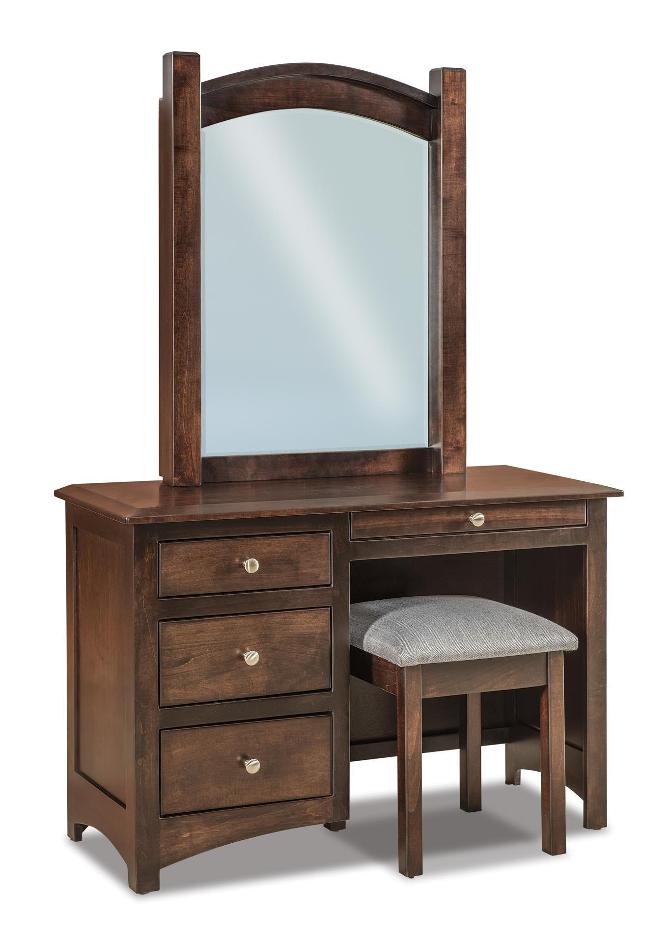 Amish Finland Four Drawer Vanity Dresser with Optional Mirror and Optional  Bench