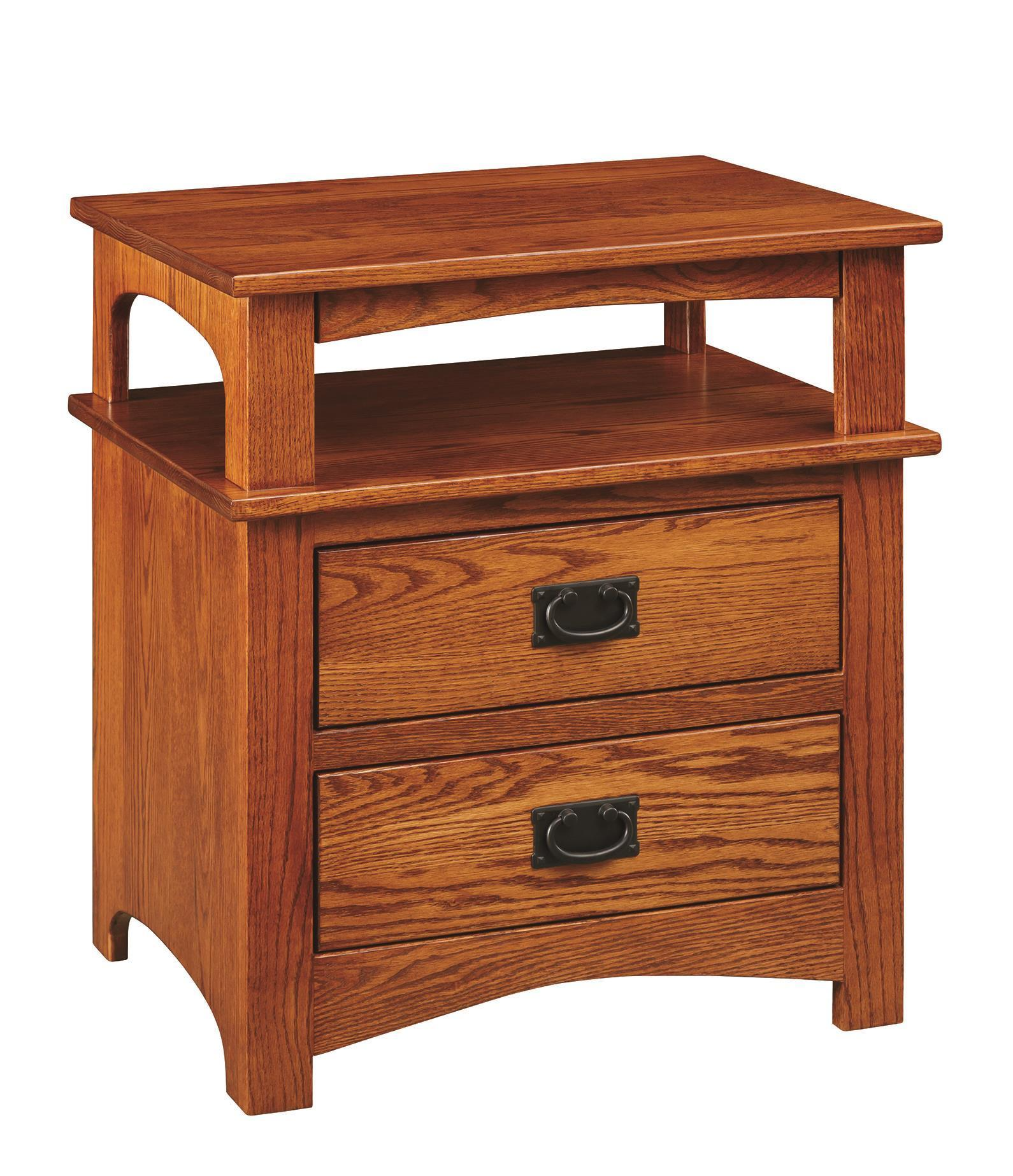 Mission 2 Drawer Nightstand With Pullout Tray From