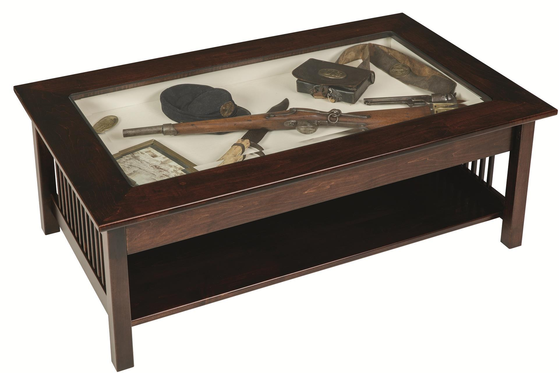 Mission Large Coffee Table With Glass Top Display From