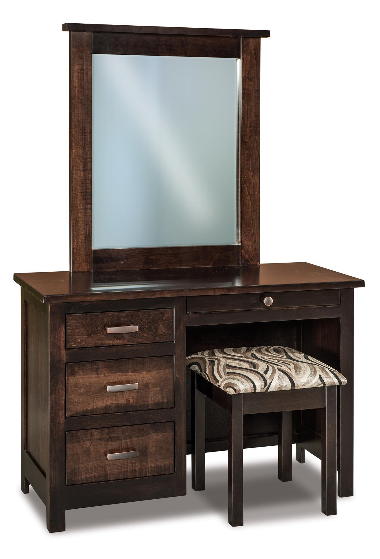 Amish Flush Mission Four Drawer Vanity Dresser From