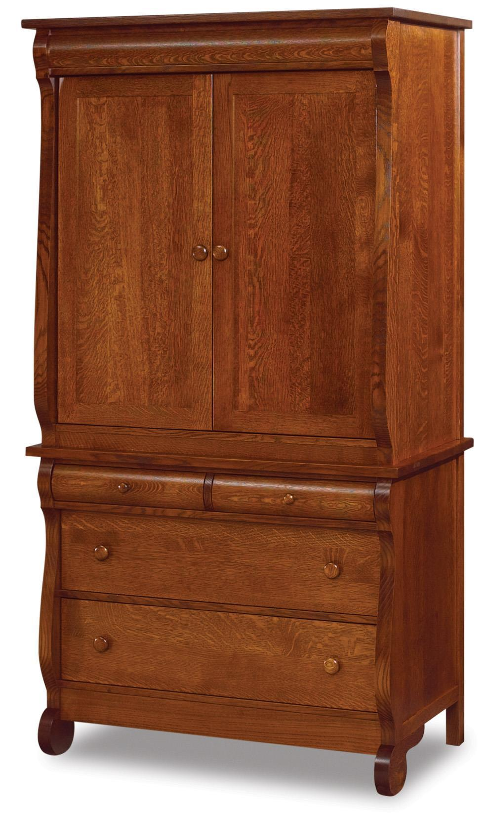 Amish Old Classic Sleigh Large Two Piece Armoire