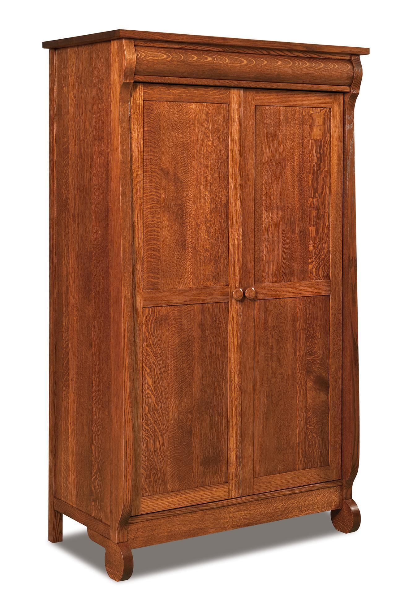 Amish Old Classic Sleigh Wardrobe Armoire From