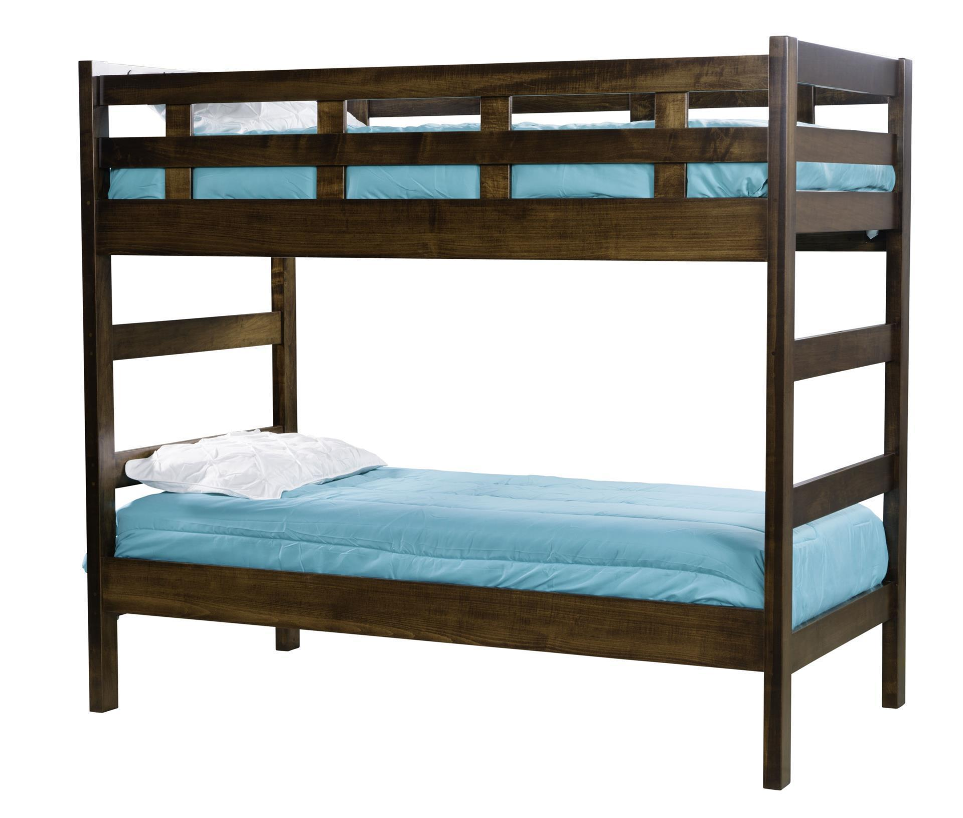 Kids Twin Over Twin Bunk Bed With End Ladder From Dutchcrafters Amish