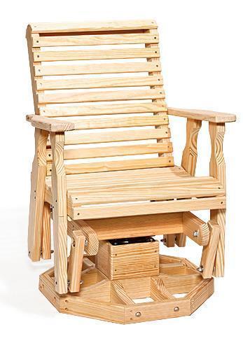 Yellow Pine Wood Swivel Glider Chair