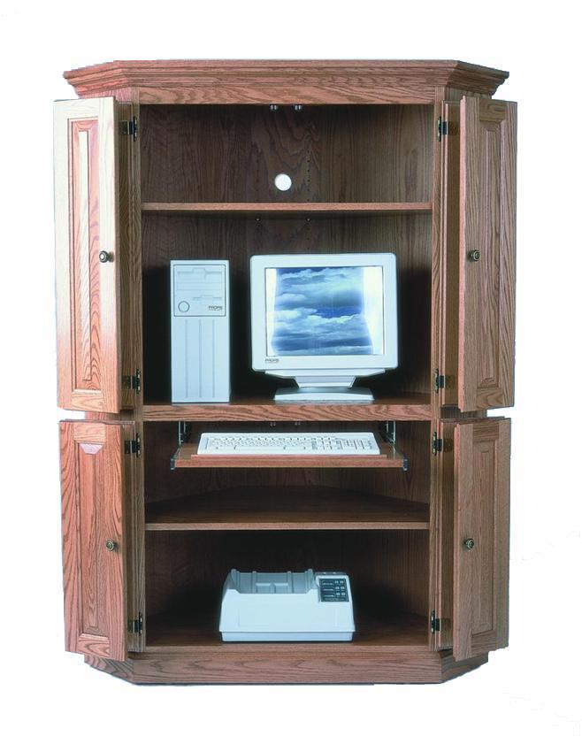 Hardwood Corner Computer Armoire From