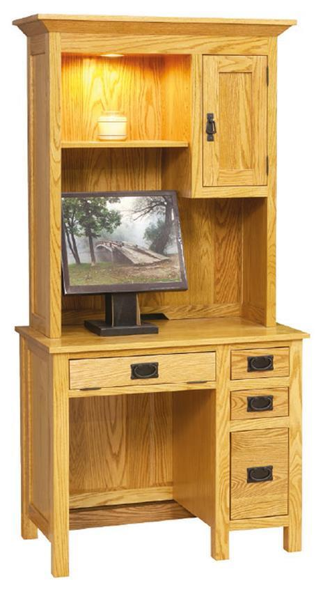 Home Library Decor: Small Mission Desk With Hutch Top By DutchCrafters Amish