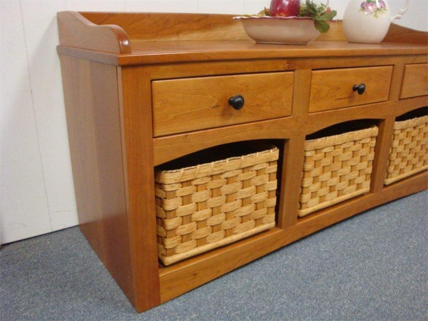Entryway Storage Bench With Baskets And Drawers From Dutchcrafters