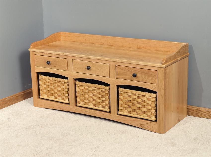 Amish Storage Bench with Baskets and Drawers