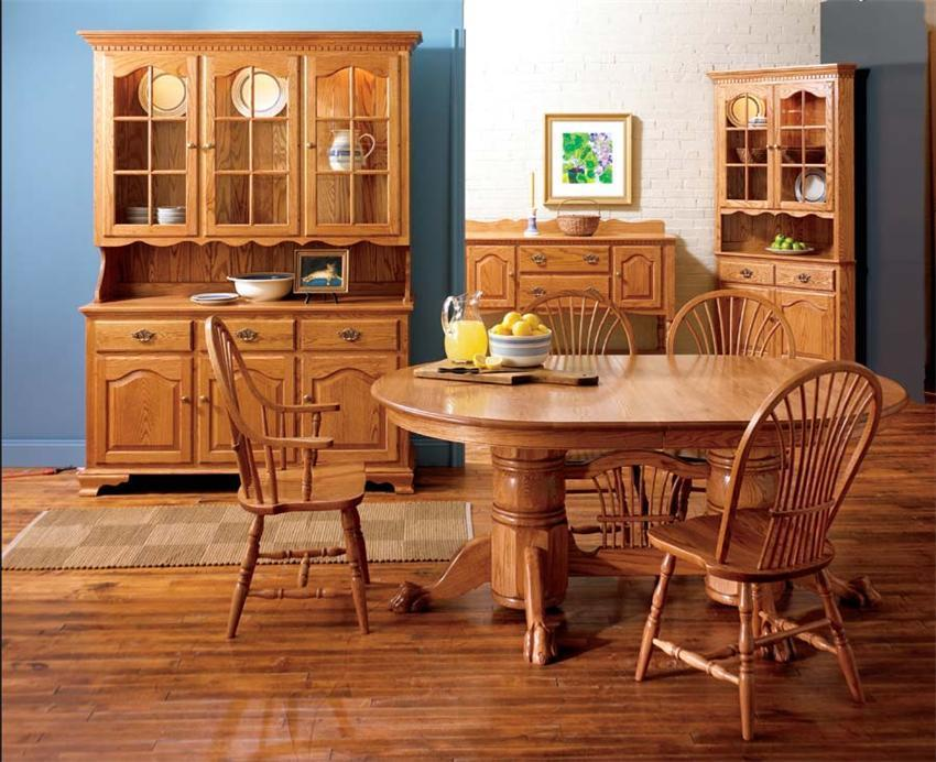 Amish Solid Wood Pedestal Dining Table