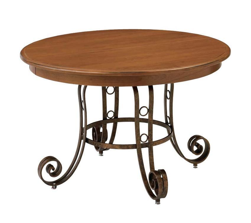 Amish Rustic Plank Top Dining Set Round Pedestal Solid: Ironwood Pedestal Solid-Top Dining Table From