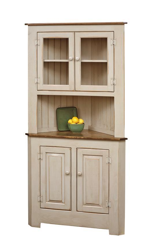 Farmhouse Pine Wood Corner Hutch From Dutchcrafters Amish