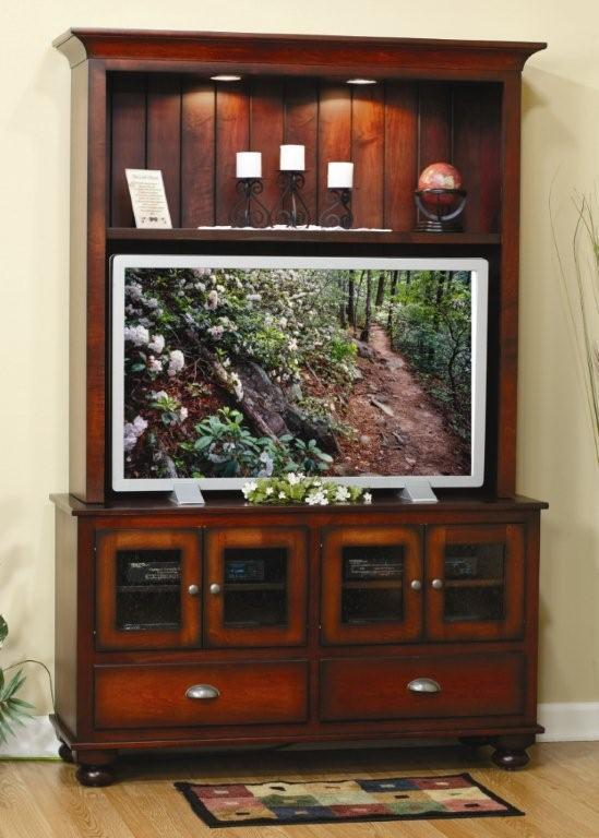 Amish Cantilever Entertainment Center Wall Unit With Drawers