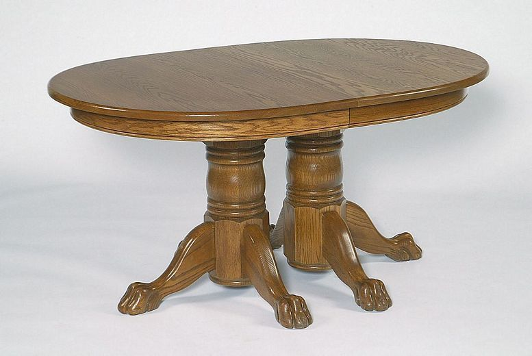 Double Pedestal Claw Feet Colonial Dining Table From