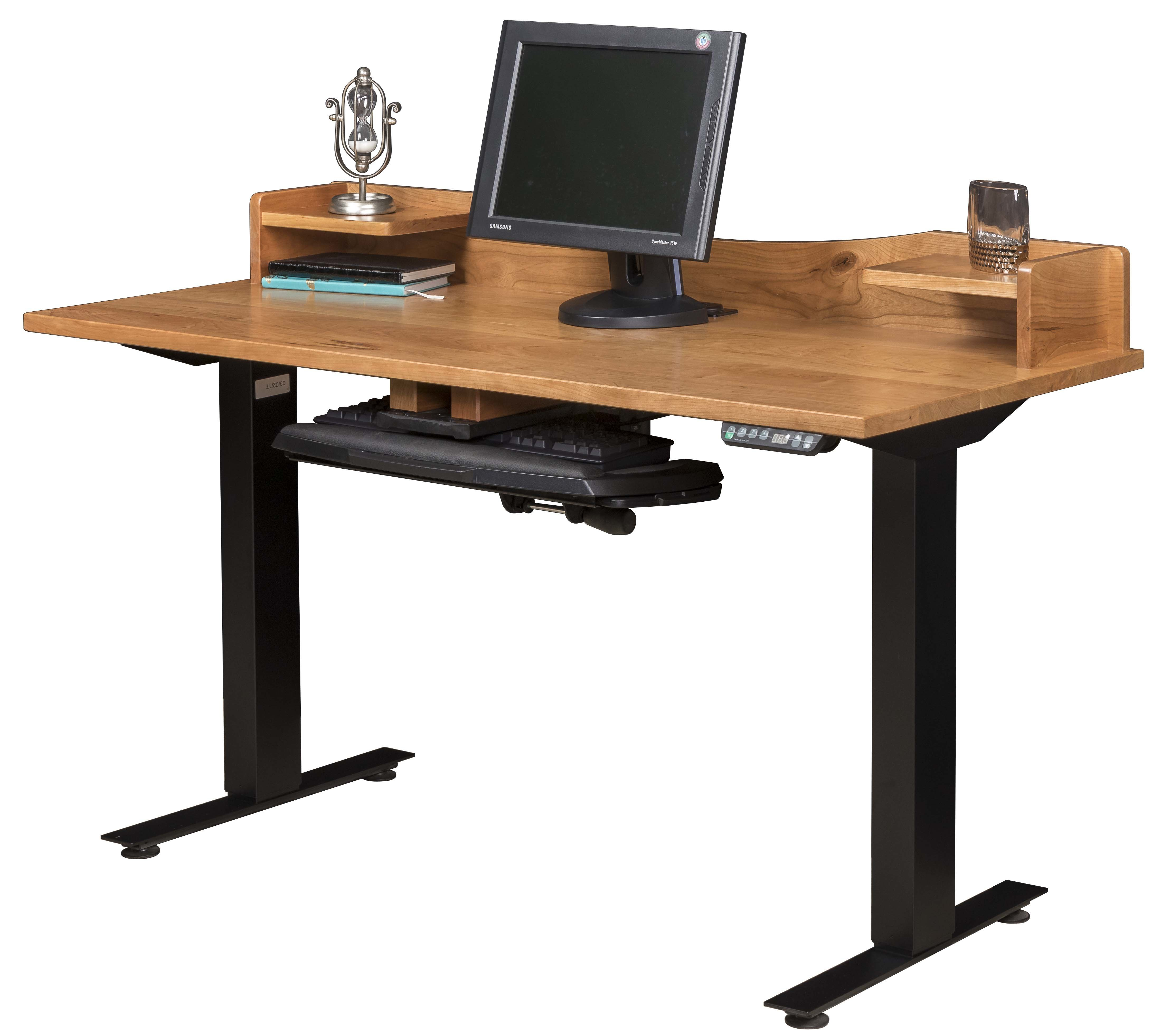 Picture of: Adjustable Amish Standing Desk With Optional Live Edge Top