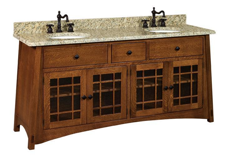 Amish 72 Mccoy Mission Double Solid Wood Vanity Cabinet