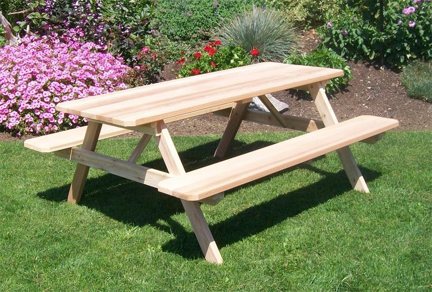 Fine Amish Cedar Wood Table With Attached Benches Beatyapartments Chair Design Images Beatyapartmentscom