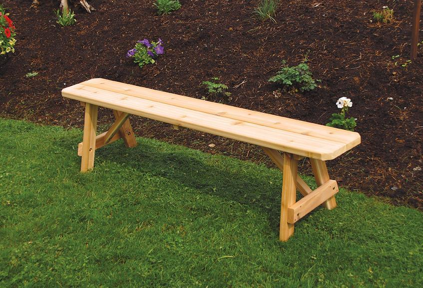 Sensational Amish Cedar Wood Traditional Backless Outdoor Bench Ncnpc Chair Design For Home Ncnpcorg