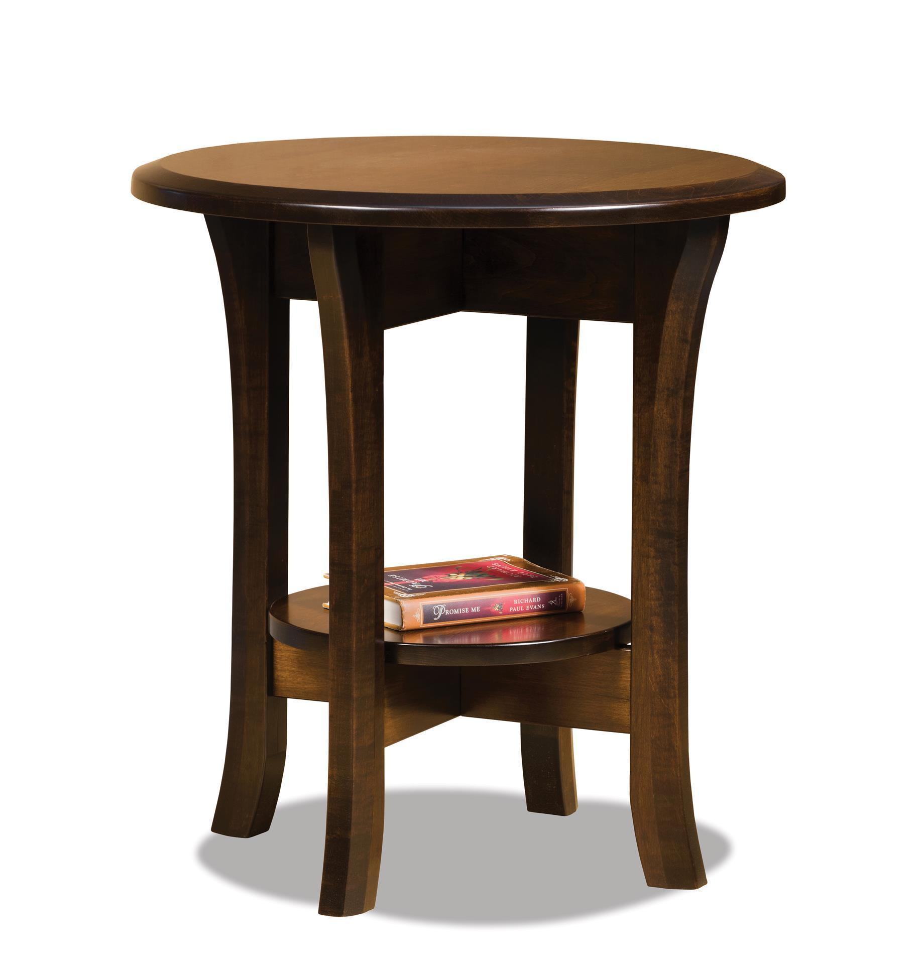 Amish Ensenada Round End Table With Shelf
