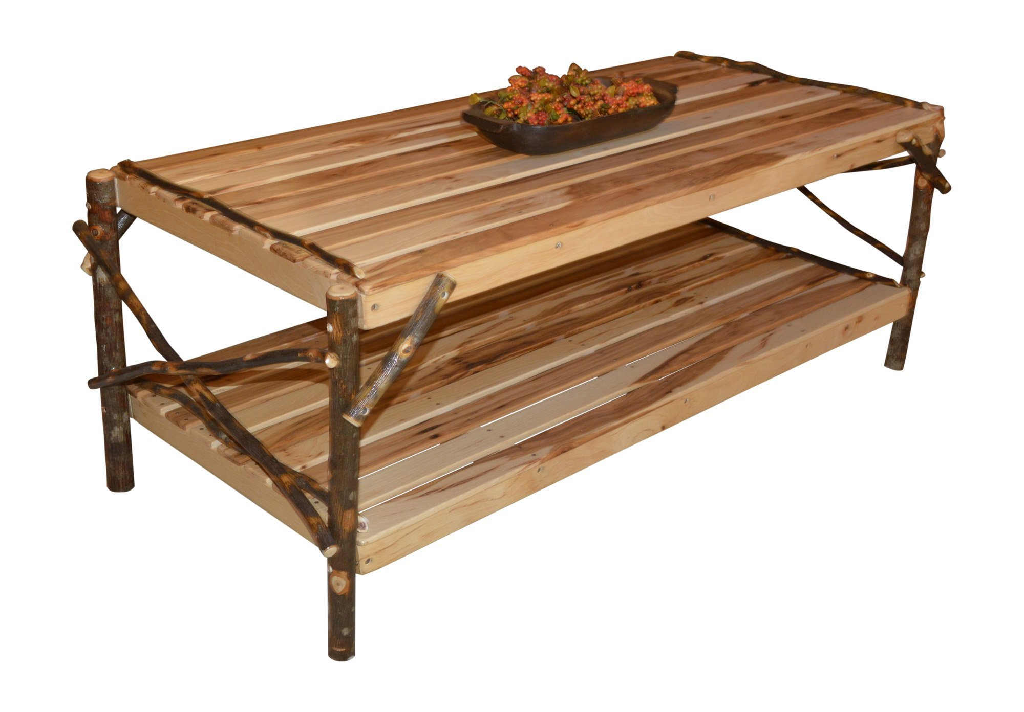 Rustic Hickory Wood Coffee Table With Shelf From Dutchcrafters Amish
