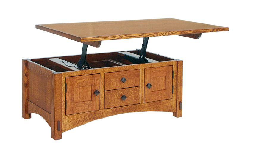 Amish Lucern Mission Cabinet Lift Top Coffee Table