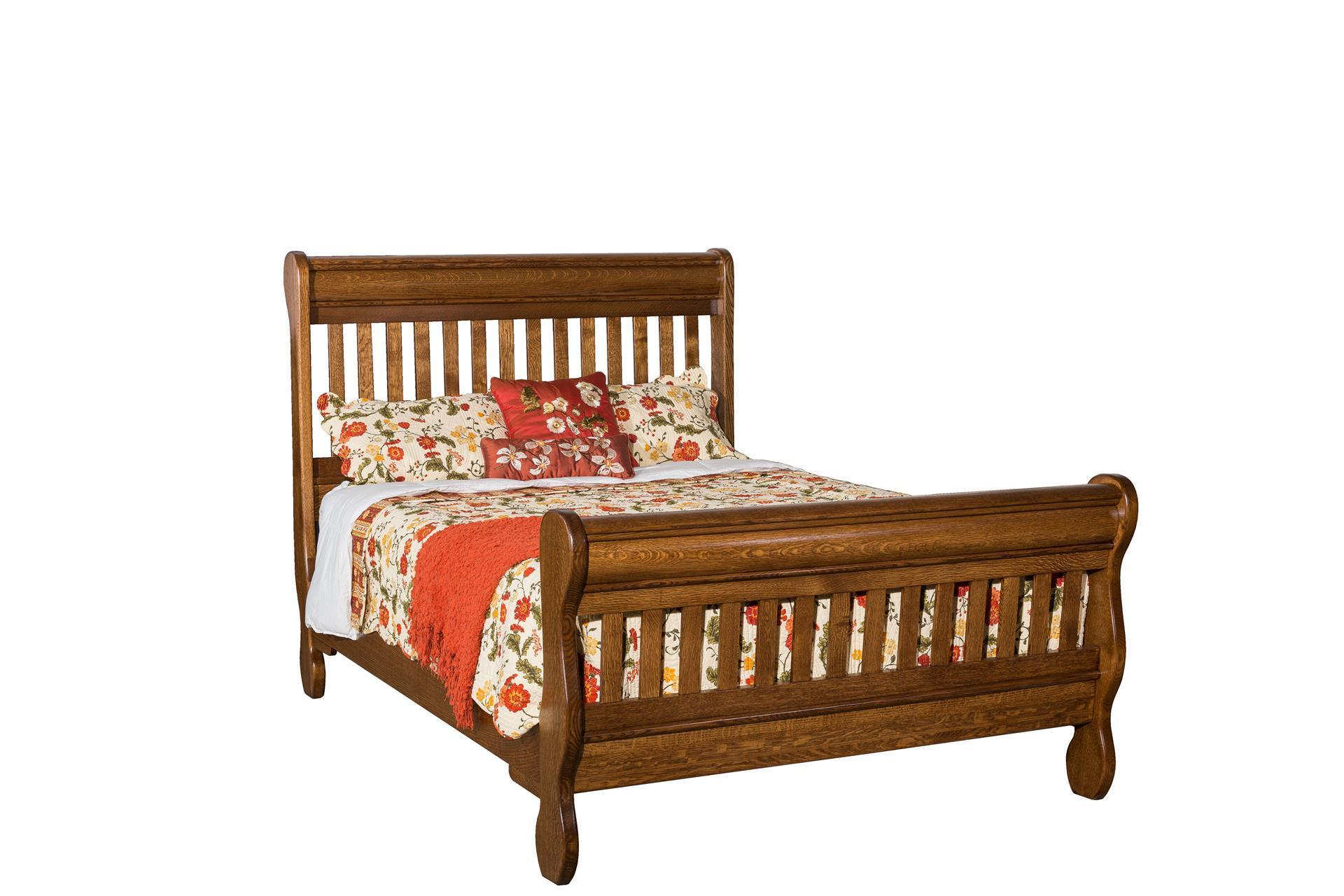 Solid Wood Mission Slat Sleigh Bed From Dutchcrafters Amish Furniture