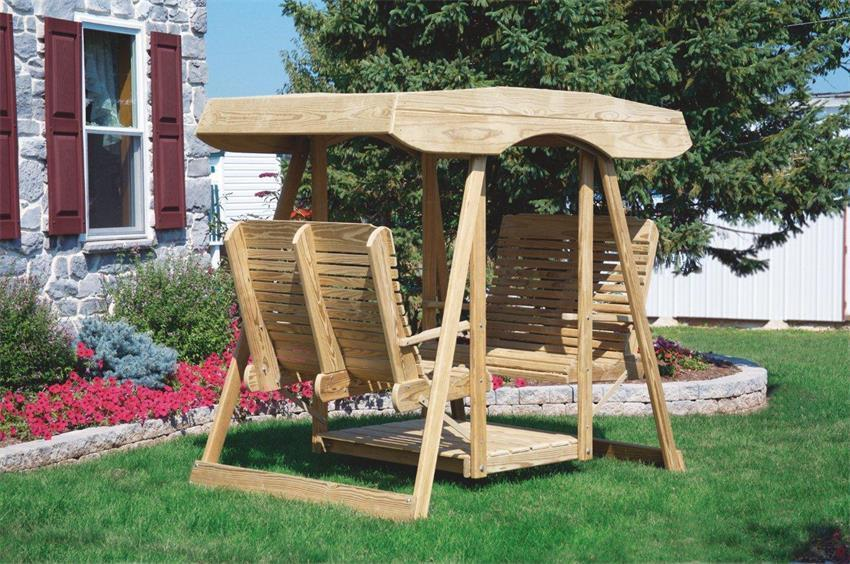 Double Lawn Swing Glider With Canopy