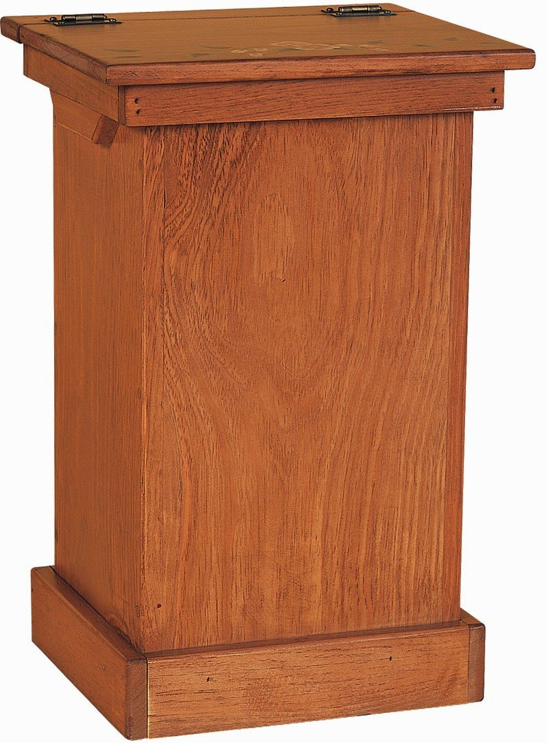 Amish Pine Wood Lift Top Trash Bin Cabinet Quick Ship