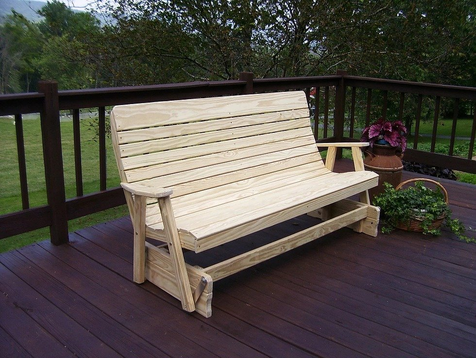 Fine Amish Pine Wood Highback Outdoor Glider Bench Gmtry Best Dining Table And Chair Ideas Images Gmtryco