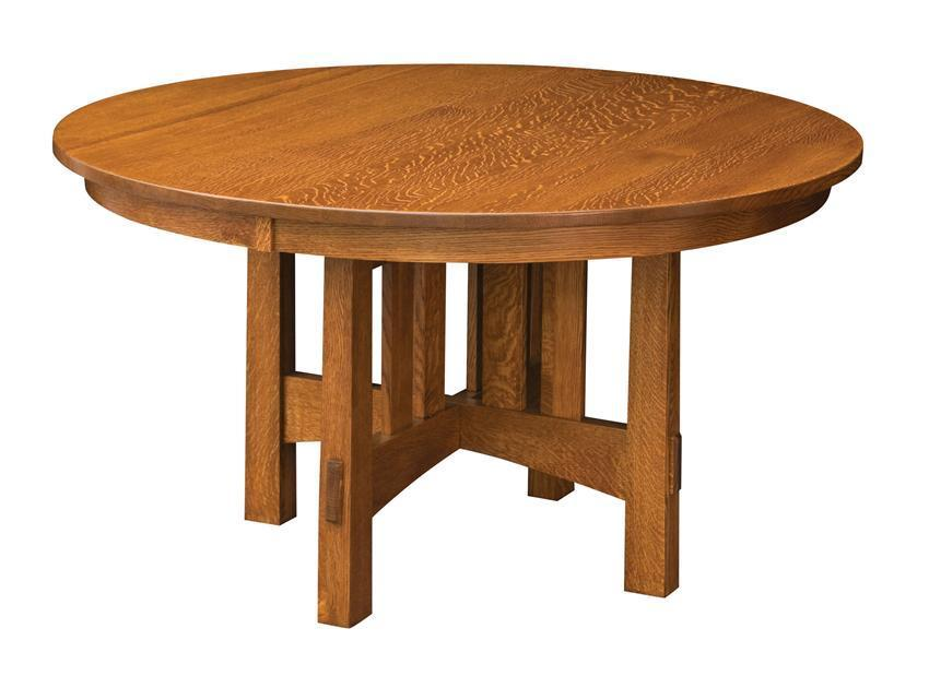 Round Modesto Mission Trestle Dining Table From Dutchcrafters Amish